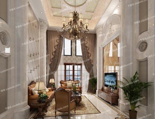 客厅, 美式客厅, 沙发组合, 沙发茶几组合, 吊灯, 美式