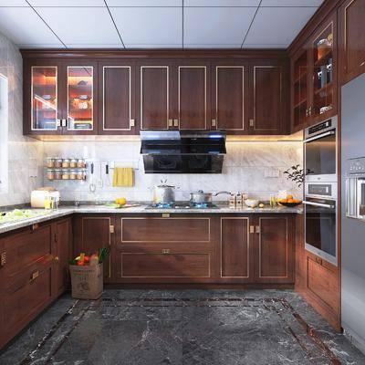 厨房, 橱柜组合, 厨具组合, 中式