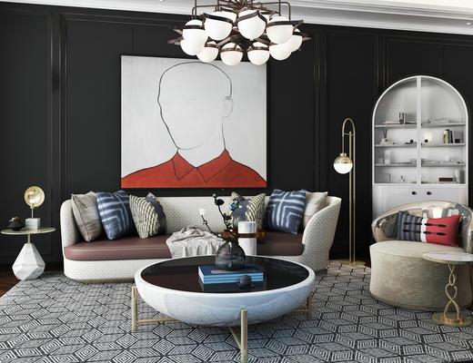 现代简约, 沙发茶几组合, 吊灯, 花瓶, 落地灯