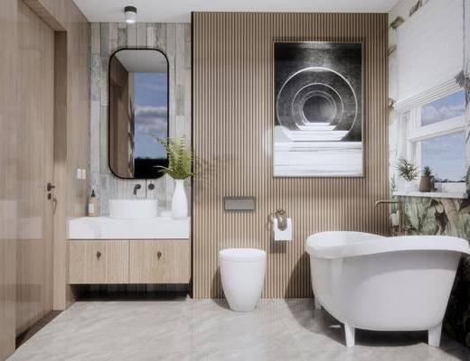 卫浴组合, 洗手盆, 壁镜, 马桶, 浴缸