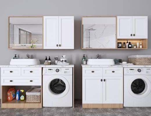 卫浴柜架, 洗手台, 洗衣机, 摆件组合, 北欧浴室柜洗衣柜3d模型