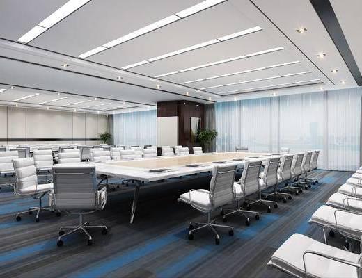 现代, 会议室, 背景墙, 投影, 会议桌, 椅子