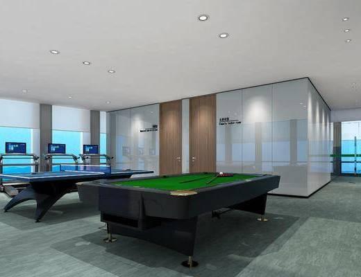 健身房, 健身室, 现代, 桌球, 桌球台, 跑步机, 设备, 器材