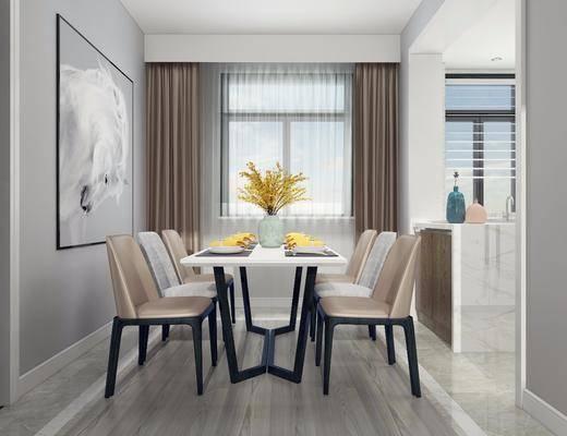 餐厅, 现代餐厅, 餐桌, 单椅, 花瓶, 花卉, 餐具, 装饰, 摆件, 现代
