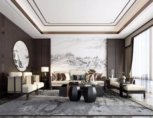 沙发组合, 茶几, 背景墙, 单椅, 墙饰