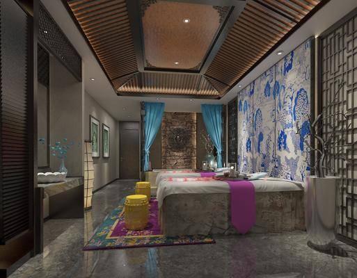 SPA会所, 按摩床, 凳子, 洗手台, 装饰画, 挂画, 摆件, 装饰品, 陈设品, 中式