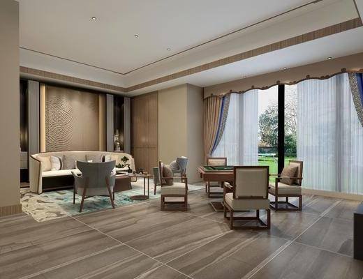麻将桌, 棋牌室, 沙发组合