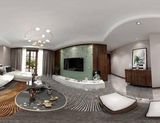 客廳, 餐廳, 家裝全景, 沙發組合, 沙發茶幾組合, 邊柜組合, 擺件組合, 餐桌椅組合, 新中式