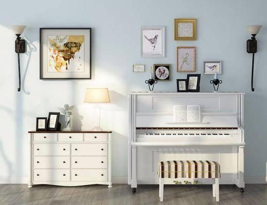 边柜, 装饰柜, 钢琴, 凳子, 装饰画, 照片墙, 壁灯, 挂画, 台灯, 北欧