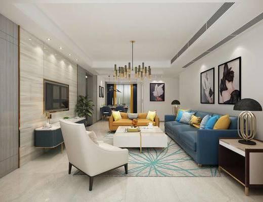 现代, 客厅, 休闲椅, 沙发, 灯具