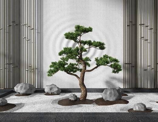 新中式, 石头, 小景, 组合, 3D模型