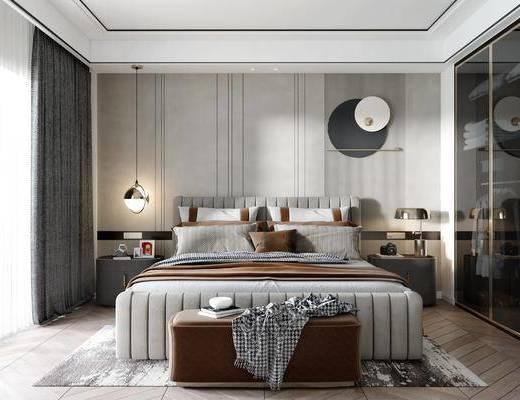 双人床, 衣柜, 墙饰, 床头柜, 吊灯, 摆件组合, 床尾踏, 地毯