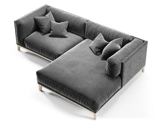 现代简约, 灰色, 沙发, 多人沙发