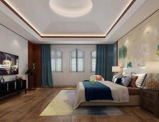 单人床, 电视柜, 背景墙, 床头柜, 台灯