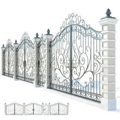 双开门, 现代铁门, 欧式铁门, 铁门, 花纹, 欧式