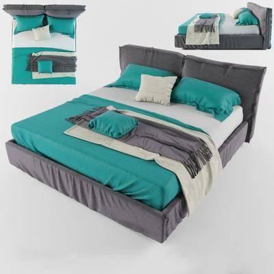 双人床, 床具, 现代, 简约, 现代简约