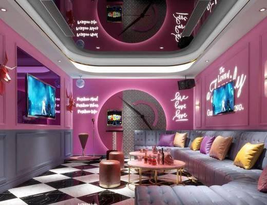 现代, KTV, 茶几, 沙发, 沙发凳, 音响, 麦克风, 显示屏