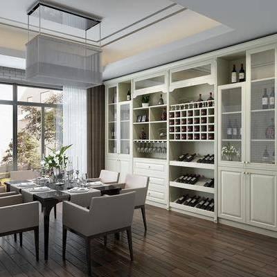餐厅, 简美餐厅, 餐桌, 桌椅组合, 椅子, 单椅, 餐具, 红酒, 酒柜, 吊灯, 花瓶, 花卉, 植物, 盆栽, 简美