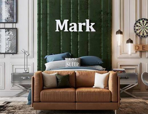 单人床, 墙饰, 装饰画, 床具组合, 沙发组合, 单椅, 桌椅组合