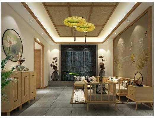 大厅, 民宿大厅, 新中式民宿, 桌椅组合