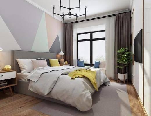 卧室, 双人床, 床头柜, 吊灯, 盆栽, 衣柜, 摆件, 装饰品, 陈设品, 北欧