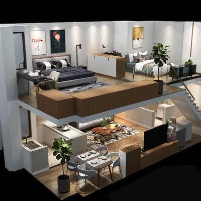 复式, 客厅, 卧室, 沙发, 床