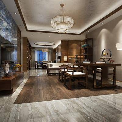 中式客厅, 中式沙发, 落地灯, 吊灯, 电视柜