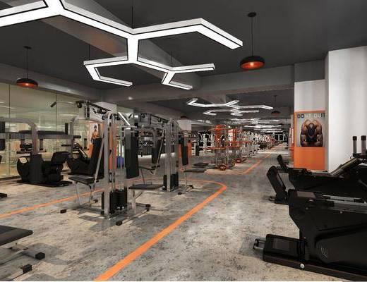 健身器材, 健身房, 吸顶灯, 运动器械