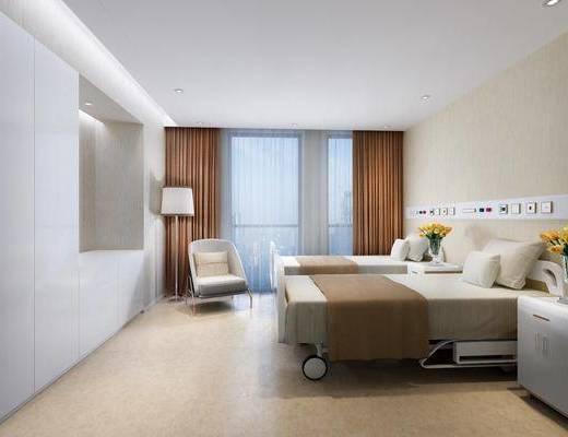 美容院, SPA养生店, 美容间, 病床, 休闲椅, 落地灯, 医院病房, 高级护理病房, 花瓶花卉, 现代