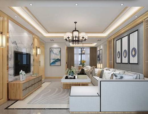客厅, 餐厅, 新中式, 中式, 中式沙发, 中式客厅