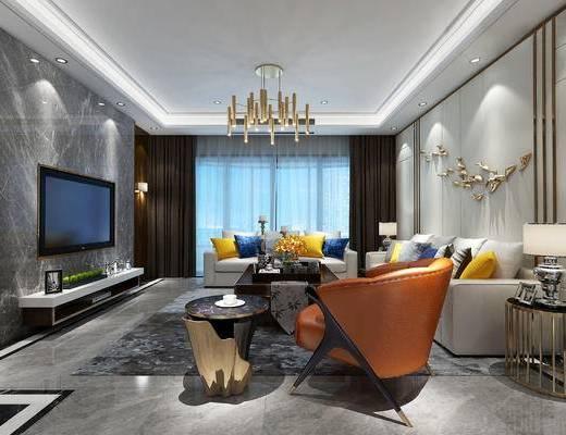 现代, 后现代, 客厅, 沙发, 沙发组合, 吊灯, 茶几, 电视柜, 单人沙发, 墙饰