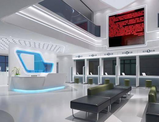 现代医院大厅, 大厅, 沙发凳, 前台