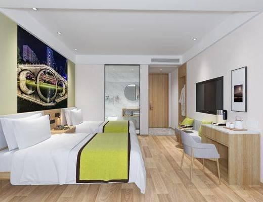 酒店客房, 现代酒店客房, 床具组合, 单椅, 浴室
