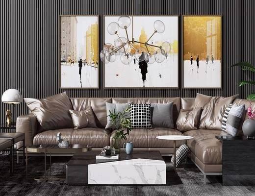 现代沙发组合, 转角沙发, 茶几, 沙发凳, 挂画, 边几