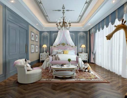 简欧卧室, 简欧, 床, 欧式床, 欧式床头柜
