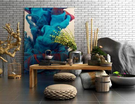 茶室, 装饰画, 挂画, 凳子, 装饰品, 陈设品, 干树枝, 茶几, 新中式