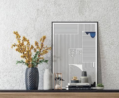 摆件组合, 装饰品, 书籍, 花瓶, 植物