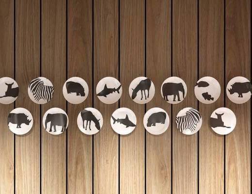 墙面盘子, 墙饰, 装饰动物, 现代