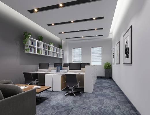 现代, 办公室, 办公桌, 椅子, 办公椅, 电脑, 装饰画
