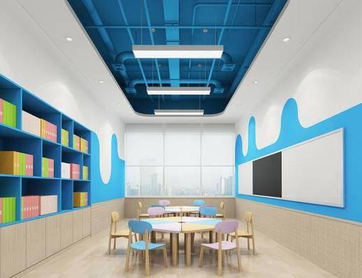 幼儿园, 教室, 桌椅组合, 墙饰, 置物柜