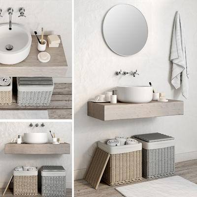 洗手台, 卫浴柜, 现代卫生间, 卫生间, 现代, 洗手盆, 洗浴用品, 篮子