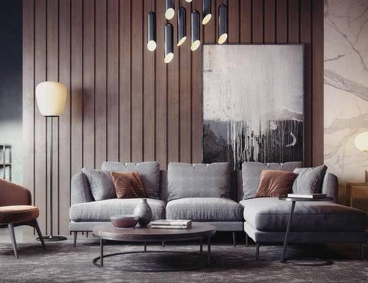 现代, 多人沙发, 边几, 吊灯, 装饰画, 休闲椅