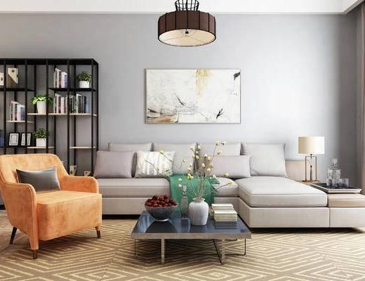 沙发, 沙发组合, 茶几, 装饰画, 书柜, 沙发茶几组合