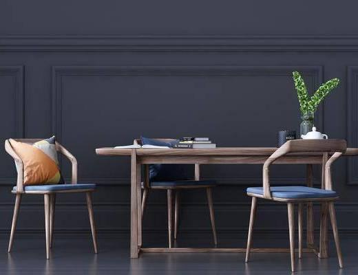 餐桌, 餐椅, 单人椅, 摆件, 装饰品, 陈设品, 北欧