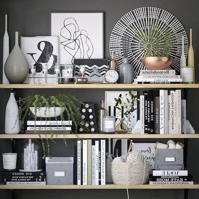 陶瓷盆栽, 摆件组合, 书籍蜡烛台, 装饰品组合, 书籍, 装饰画, 挂画, 现代
