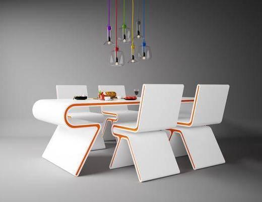 餐桌, 餐椅, 单人椅, 吊灯, 食物, 现代
