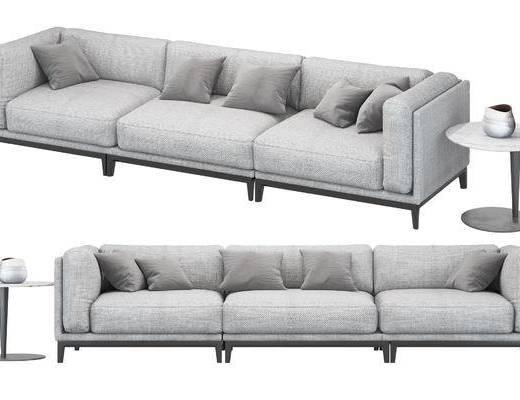现代, 多人沙发, 边几, 沙发, 布艺沙发