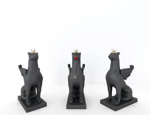 动物雕塑, 摆件组合, 装饰品, 陈设品, 现代