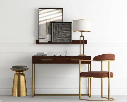 书桌, 单人椅, 台灯, 装饰画, 挂画, 北欧