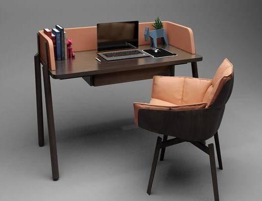 桌椅组合, 书桌, 单人椅, 现代